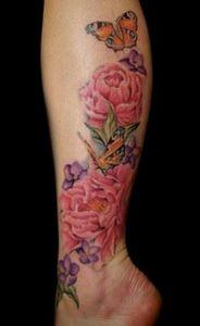 Inachis and Peonies Tattoo by Mall - 200 Floral Tattoos - Beautiful Flower Designs, Ideas for Tattoos