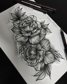 Black work peonies - 200 Floral Tattoos - Beautiful Flower Designs, Ideas for Tattoos