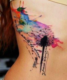 Dandelion watercolor side tattoo f - 200 Floral Tattoos - Beautiful Flower Designs, Ideas for Tattoos