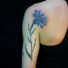 Cornflower Tattoo - 200 Floral Tattoos - Beautiful Flower Designs, Ideas for Tattoos
