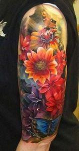 The colors! watercolor floral flow - 200 Floral Tattoos - Beautiful Flower Designs, Ideas for Tattoos