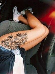 Peony Thigh Tattoo - 200 Floral Tattoos - Beautiful Flower Designs, Ideas for Tattoos