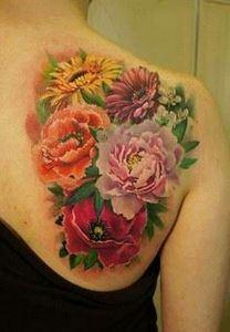 sunflower and rose tattoo - 45 Ins - 200 Floral Tattoos - Beautiful Flower Designs, Ideas for Tattoos