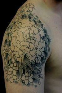 peony tattoo (with water) - 200 Floral Tattoos - Beautiful Flower Designs, Ideas for Tattoos