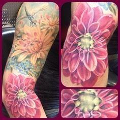 Added the #dahlia to Kelli's arm - more flowers to tie it in and make a full sleeve eventually. @eternalink @neotatmachines #flowertattoo #colortattoo… - 200 Floral Tattoos - Beautiful Flower Designs, Ideas for Tattoos