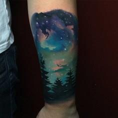 night sky tattoo landscape - 50 Galaxy Tattoos - Earth Shattering Space Tattoos