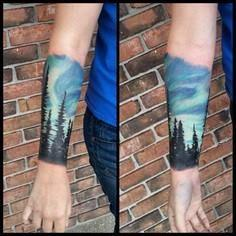 like the trees - 50 Galaxy Tattoos - Earth Shattering Space Tattoos