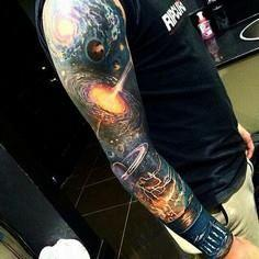 Probably the best tattoo - 50 Galaxy Tattoos - Earth Shattering Space Tattoos