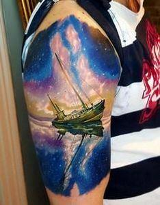 Boat with milk way stars Tattoo - 50 Galaxy Tattoos - Earth Shattering Space Tattoos
