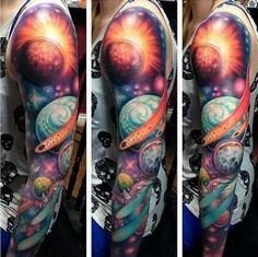 galaxy space full sleeve tattoo - 50 Galaxy Tattoos - Earth Shattering Space Tattoos