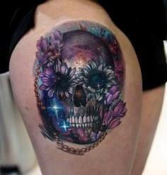 Galaxy skull tattoo by Mikhail - 50 Galaxy Tattoos - Earth Shattering Space Tattoos