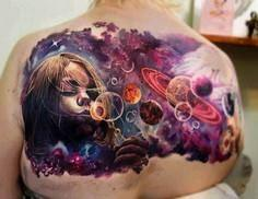 The space could be surreal and her - 50 Galaxy Tattoos - Earth Shattering Space Tattoos