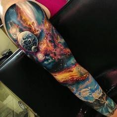 3D space full sleeve tattoo - 50 Galaxy Tattoos - Earth Shattering Space Tattoos