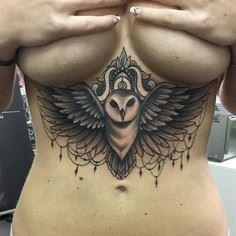 Under Breast Owl Tattoo / Artist.. - 50 Owl Tattoos You Have to See