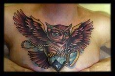 Timmy B - Black 13 Tattoo  by Blac - 50 Owl Tattoos You Have to See