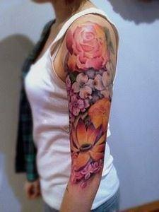 half sleeve watercolor tattoo of d - 140 Rose Tattoos