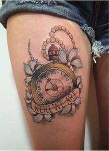 clock tattoo on leg - 100 Awesome  - 185 Thigh Tattoos