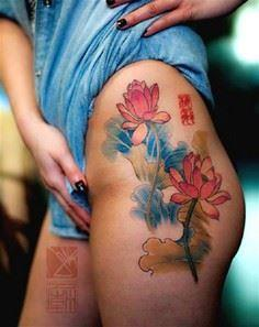 Pink lotus flower tattoos with lon - 185 Thigh Tattoos