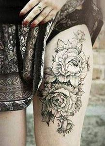 Peony tattoo on thigh tattoo. Love - 185 Thigh Tattoos