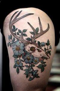 Stag Skull and Flower Tattoo - 45  - 185 Thigh Tattoos
