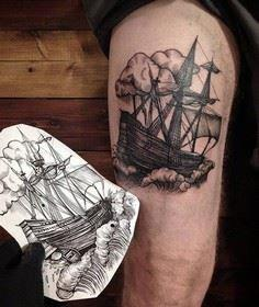 Boat thigh tattoo - 100 Boat Tatto - 185 Thigh Tattoos