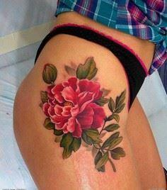 Peony tattoo - 50 Peony Tattoo Des - 185 Thigh Tattoos