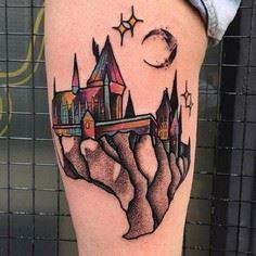 Castle on piece of Mountain. This  - 185 Thigh Tattoos