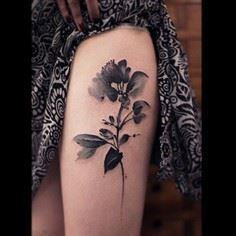 Black and white watercolor flower  - 185 Thigh Tattoos