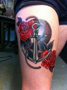 Anchor and Rose Tattoo on Leg - 50 - 185 Thigh Tattoos