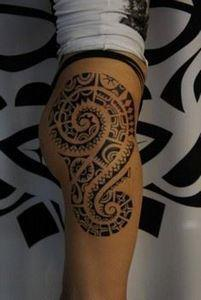 Marquesan full leg tattoo for wome - 185 Thigh Tattoos