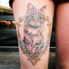 Cat Tattoo On Thigh - 55 Thigh Tat - 185 Thigh Tattoos