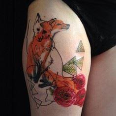 Watercolor fox tattoo - 50+ Exampl - 185 Thigh Tattoos