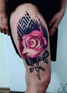 Pink rose thigh tattoo - 100+ Mean - 185 Thigh Tattoos
