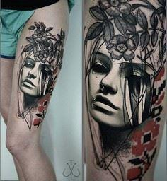 Portrait and flower thigh tattoo - - 185 Thigh Tattoos