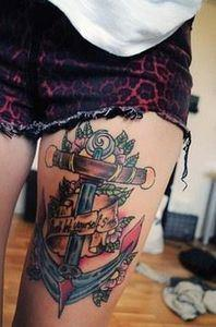 Gorgeous Anchor Tattoo on Leg - 185 Thigh Tattoos