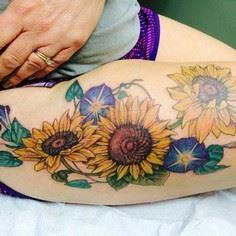 A very pretty group of sunflowers  - 185 Thigh Tattoos