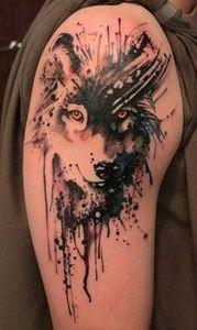 Wolf watercolor tattoo - 65+ Examp - 185 Thigh Tattoos