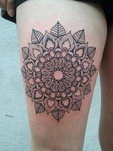 Mandala inspired lotus tattoo on a - 185 Thigh Tattoos