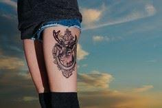 Deer Thigh Tattoo - 45 Inspiring D - 185 Thigh Tattoos