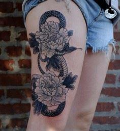 Peony and snake thigh tattoo - 185 Thigh Tattoos
