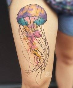 Jellyfish tattoo-49 - 50 Jellyfish - 185 Thigh Tattoos