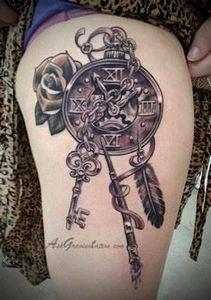 Steampunk dreamcatcher tattoo - 185 Thigh Tattoos