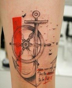 Beautiful dated anchor tattoo. The - 185 Thigh Tattoos