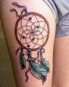 Knotted Feathers and Beads on Drea - 185 Thigh Tattoos