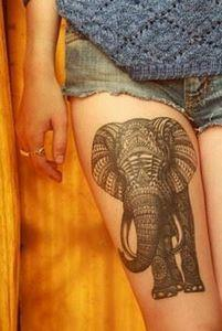55 Elephant Tattoo Ideas | Cuded - 185 Thigh Tattoos