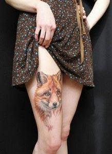 Fox thigh tattoo - Fox is an anima - 185 Thigh Tattoos