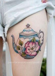 The Floral Teapot Tattoo Piece. Th - 185 Thigh Tattoos