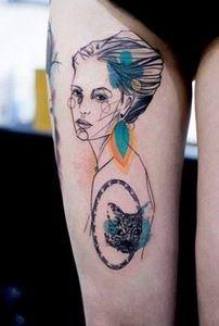 Watercolor portrait thigh tattoo - - 185 Thigh Tattoos