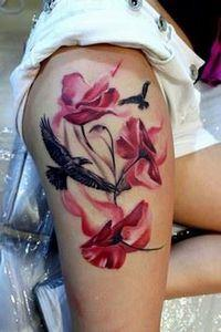 sexy poppy thigh tattoo - 185 Thigh Tattoos