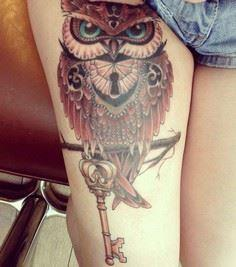 Colour Owl Tattoo on Thigh - 55 Aw - 185 Thigh Tattoos
